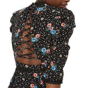 Topshop Black Floral Laced-Up Back Dress 4